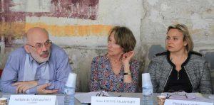De gauche à droite le délégué de la CG-SCOOP Adelphe de Taxis du Poët, Anne Castot-Villepelet et la représentante de la CPAM 75